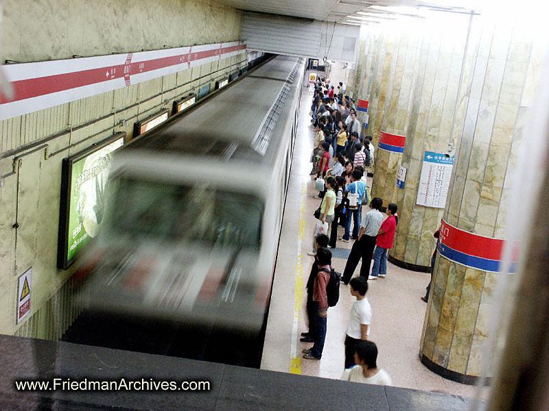 China Images /Subway train moving