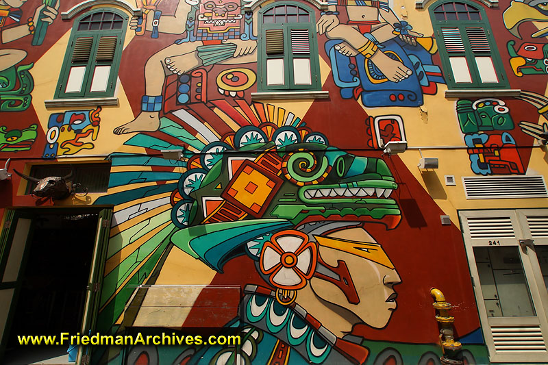 Wall art for Aztec mural painting