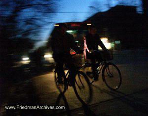 2 bicycles at night
