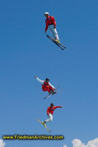 3 Skiers Jumping