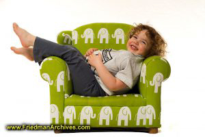 3-year-old and green chair