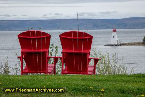 Adirondack Chairs and Lighthouse