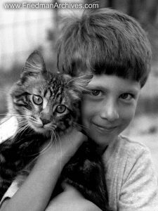 Animals Gallery Boy and Lionel Famous B and W shot