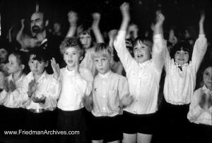 Audience clapping B and W