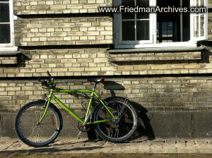 Bicycle and brick wall