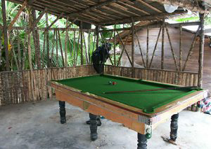 Billiard table in hut.