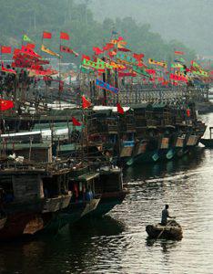 Dock of a thousand flags near dusk.