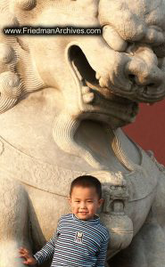 Boy and statue