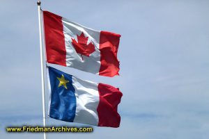 Canadian and Acadian Flags