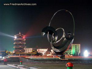 Century Square Sculpture at night