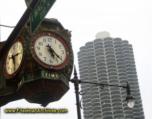 Clock and Marina City Building
