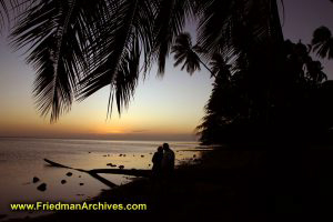 Couple in Love Sunset at Beach Palm Tree