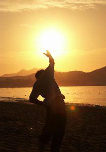 Exercising at sunrise.