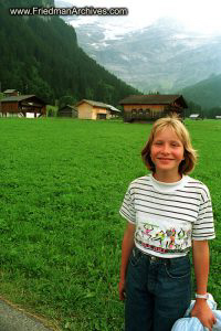 Girl and Swiss Mountains