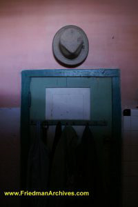 Hat on wall above doorway