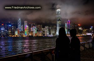 Hong Kong Skyline with 2 silhouettes