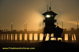 Huntington Beach Watch Tower at Sunset