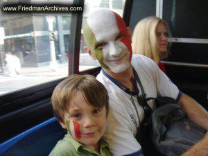 Italian Soccer Fan on Bus
