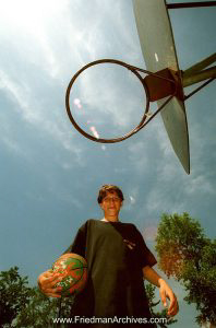 Kids and Sports Giant Player and Hoop