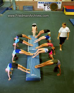 Kids and Sports Gymnastics Stretching Exercise