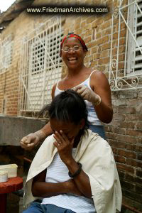 Laughing During Haircut