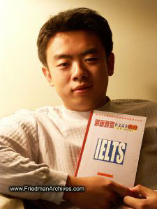 Michael holding IELTS book