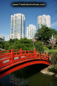 Modern China - Red Bridge and Buildings