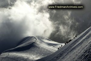 Mountain Climbers Silhouetted