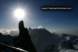 Mountain Peak and Sun
