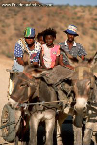 Namibia Images Family on Mule Cart