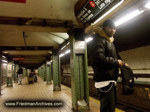 Subway platform and rider