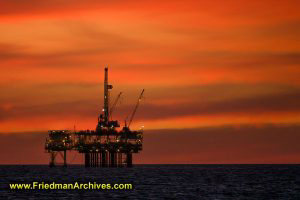 Oil Rig Platform at Sunset (Horizontal)