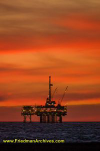 Oil Rig Platform at Sunset (Vertical)