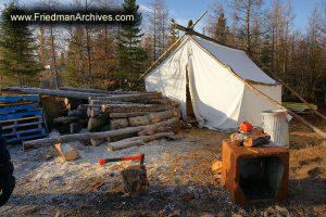Tent and Chopped Wood