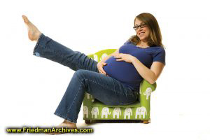 Pregnant Mom in Green Chair