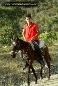 Red Shirt on Horseback
