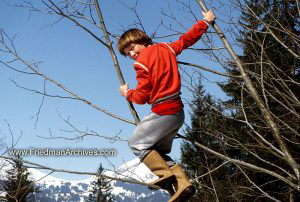 Red shirt and Boots on Trees