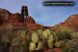 Sedona Church and Cactus