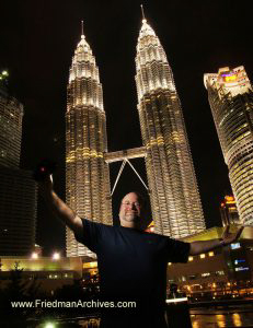 Self-Portrait in front of Petronas Towers Kuala Lumpor