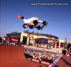Skateboard Images - Flying over Edison Stadium