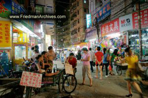Street Scene at Night Bicycle Taxis
