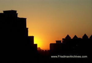 Sunset on buildings