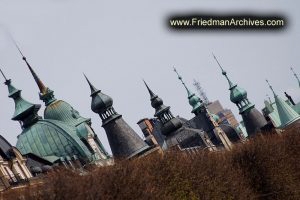 Sweden Rooftop Spires at an Angle