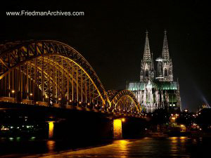Switzerland and Germany Bridge and Cathedral at night