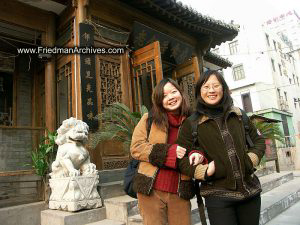 Wanny and Sunny in front of Restaurant