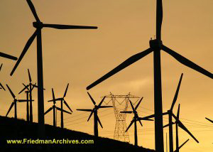 Windmills and Power Pole