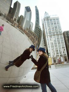 Woman at Cloud Gate Statue